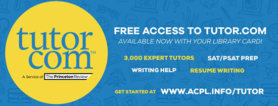 Tutor.com - Receive personalized one-on-one tutoring in math, science, social studies, English, AP courses, and SAT preparation! Test preparation, career resources, and resume/cover letter reviews are available 24/7.